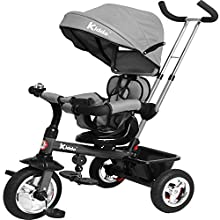 Kiddo Smart 4 in 1 Kids Children Trike Tricycle with Rotating Seat, Rear Brake and Sun Canopy (Grey)