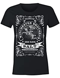 6TN Ladies Winchester Brothers Demon Warding Salt T Shirt