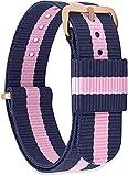 GN7 Damen Herren Nylon Ersatzarmband mit Edelstahlschnalle in Roségold und Silber 18mm 20mm 22mm 18 R-08 ORO Rosa/Blu Rosa