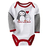 Happy Cherry Baby Baumwolle Bodys Einteiler Langarm Bodysuit Strampler - Cartoon Pinguin 12 Monate