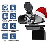 Dericam HD 1080p Webcam, Autofokus USB-Webcam, Kamera-Computer für Spiele und Live-Streaming mit Noise-Cancelling Mikrofon und Datenschutz Shutter, W2 Pro
