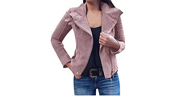 Jacken Damen Herbst Winter Retro Rivet Zipper Up Bomberjacke Slim Fit  Reißverschluss Jacke Casual Mantel Outwear Übergangsjacke Kurzmantel S-3XL   Amazon.de  ... 3dd730fc93