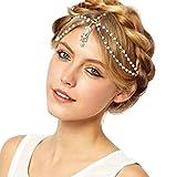 Joyas para el pelo, Sannysis pelo delicado accesorios, flor de la borla de la perla (Blanco)