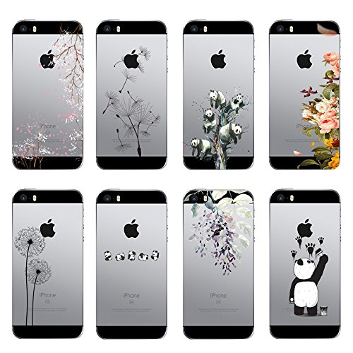 Qissy®TPU Case für iPhone 5 5S SE -Silikon-Hülle Soft Shell-Fall-Schutz Anti Shock Silikon Anti-Staub-beständig Leichtes Painted Große Sammlung Panda Blumen-Rebe (iPhone 5 5S SE, 2) 1