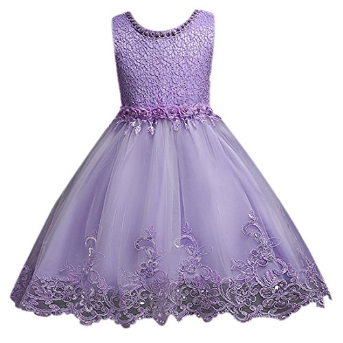 Ai.Moichien Girls Princess Dress Rose Lace Gown,Pearl Mosaic Bubble Tulle Dresses With Bowknot Belt For Bridesmaid, Wedding, Birthday,Dance, Prom, Party (4 colors, Age 2-10 years)