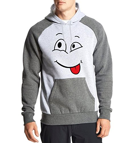 Fanideaz Cotton Full Sleeves Tougue Out Smiley Hoodies For Men Premium Sweatshirt_Charcoal Melange_M