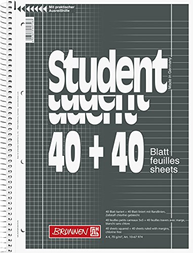 5er VE BRUNNEN Spiralblock Student A4 80 Blatt Collegeblock lin+kariert 70g/m2