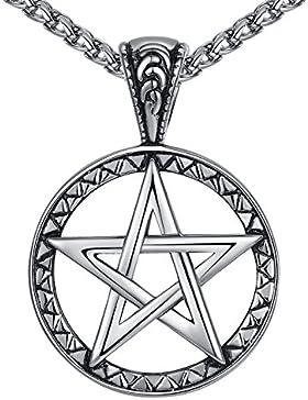 Aoiy Herren-Halskette mit Anhänger, Stern, Edelstahl, 61cm Kette, aap149