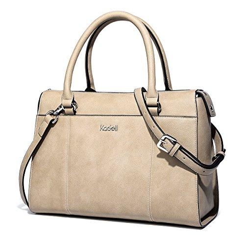 67040bd95124d Kadell PU Leder Frauen Handtaschen für Damen Luxus Top Griff Schulter  Geldbörse Nickel schwarz Hellbraun