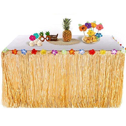 Pawaca Hawaiian Luau Grass Tisch Rock, 1 Stück 9ft Tropical Hawaiian Party Dekoration Tisch Rock mit Hibiskusblüten für Garten, Strand, Tiki, Pool, Geburtstagsfeier, Luau und Sommer (Bar Hawaii Tiki)