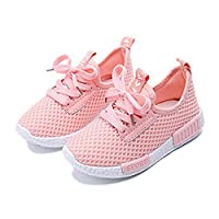 Daclay Kids Shoes Boys Girls Casual Mesh Sneakers Breathable Soft Soled Running Sports (8 UK Child, Pink)