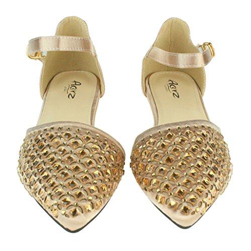 Femmes Dames Pointy Diamante Ballerine Flats Sangle de cheville Soir Fête Mariage De Mariée Prom Casual Sandales Chaussures Taille Champagne