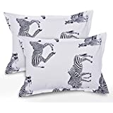 Ahmedabad Cotton 2 Pcs Cotton Pillow Cover Set - White, Black