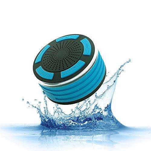LOEROY Duschlautsprecher, Wasserdichter Bluetooth Lautsprecher, mit Super Bass und HD Sound, LED-Licht, Kompatibel mit Allen Bluetooth-Geräten, iPhone, Siri und Android-Geräten