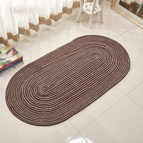 carpet Waschbar Vakuum Durable Teppich Handgestrickte Oval Couchtisch Lounge Schlafzimmer Yoga Matte Hause Tägliche Matte,100 * 200 cm,Braun