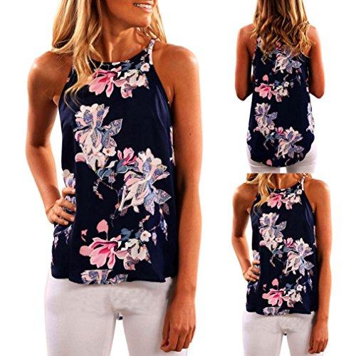 QUINTRA Frauen Sleeveless Blume gedruckt Tank Top Casual Bluse Weste T-Shirt (M) (Bauer-spitze Blumen-seide)