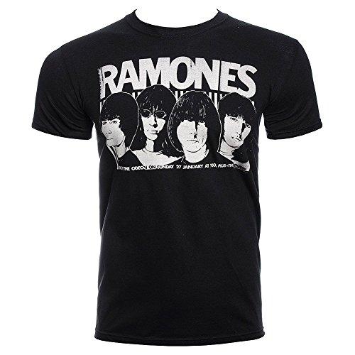 Camiseta de manga corta Odeon Poster de la banda Ramones (Negro)