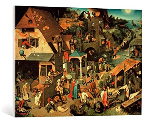 """Leinwandbild: Pieter Bruegel der Ältere """"Die niederländischen Sprichwörter"""" - hochwertiger Kunst-Druck, Leinwand auf Keilrahmen, Bild fertig zum Aufhängen, 85x60 cm"""