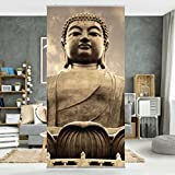 Flächenvorhang Set Großer Buddha Sepia 250x120cm | Schiebegardine Schiebevorhang Raumtrenner Vorhang Raumteiler Gardine Paravent Wandbild XXL Deko Dekor | Größe HxB: 250x120cm ohne Halterung