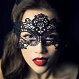 Womens Lace Sexy Venetian Masquerade Carnival Party Ball Face Eye Mask (Black)