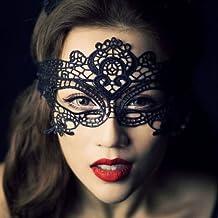 YPSelected Máscara veneciana mujer ata Fiesta de Carnaval de la mascarada atractiva cara de la bola del ojo (#1 Black)