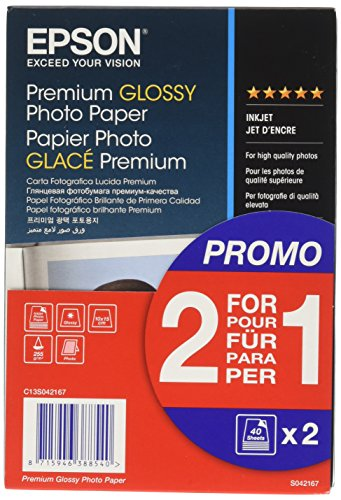 Epson Premium glossy photo paper inkjet 255g/m2 100x150mm 2x40 Blatt Pack - Glacé (Epson Glossy Photo Paper)