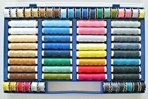 bobinas de hilo: Alzetta Surtido de 64 hilos de colores (100% poliéster, aptos para máquina de co...