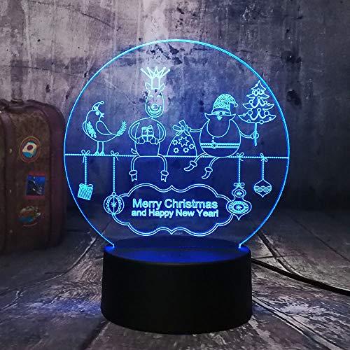 KangYD Frohes Neues Jahr Santa Claus 3D Nachtlicht, LED Nachttischlampe, Baby Geschenk, Wecker Basis 7 Farbe, Dekor Geschenk, Kinderspielzeug -
