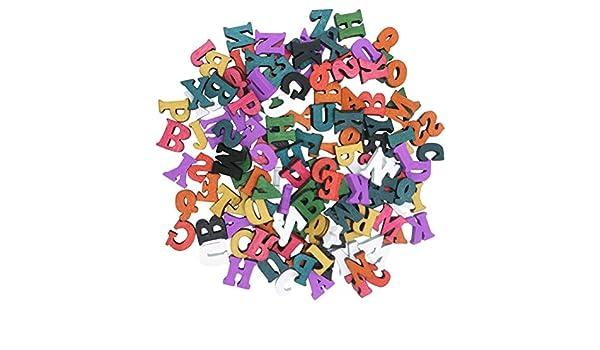 SUPVOX Lettere in Legno Piccole Alfabeto Legno fette di Legno Decorazioni Legno Giochi Legno Bambini colorato 15mm 100 Pezzi