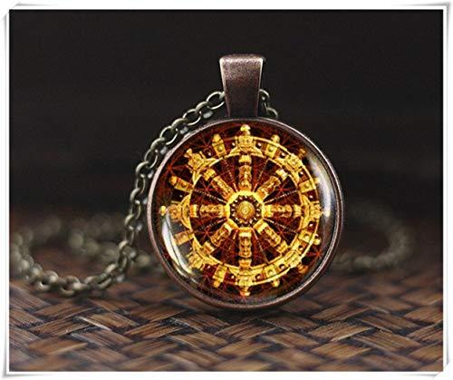 Buddhistische Dharma-Rad-Halskette, Buddhismus, Schmuck, Mandala-Halskette, heilige Geometrie-Halskette, Meditationskette, schönes Geschenk