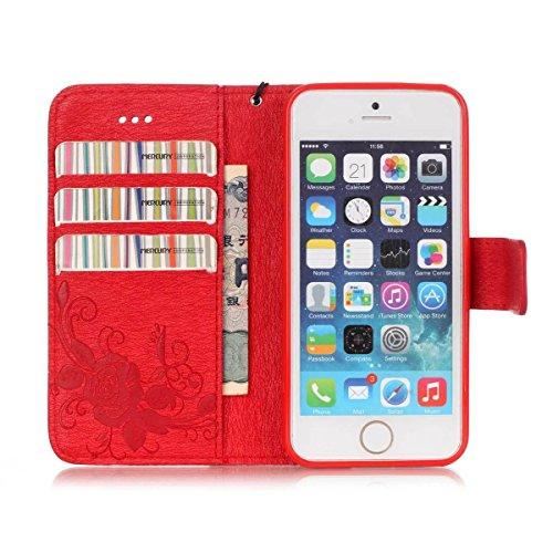 Premium PU-Leder Tasche Cover mit Resine Rhinestone und hängenden Seil Folio Stand Case Embossing Schmetterling Blumen Brieftasche Fall für iPhone 5S SE ( Color : Black , Size : IPhone 5S SE ) Red