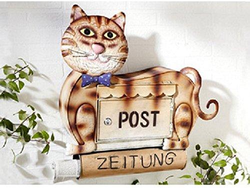 Briefkasten Katze mit Zeitungsrolle, Postkasten Dekoration Dekobriefkasten