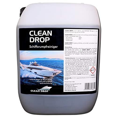 ABACUS CLEAN Drop 5 Liter (1428.5) - Schiffsrumpfreiniger GFK-Reiniger Gelcoat-Reiniger Wasserpass-Reiniger Bootsreiniger Rumpfreinger Muschelkalk Rost Oxidschichten und Vergilbungs-Entferner -