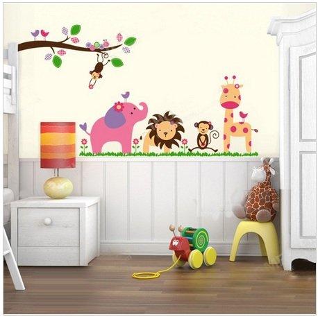 garten Jungenzimmer Kinderzimmer Kunst Aufkleber Mädchenzimmer Safari Tier Wandaufkleber Abziehbilder Dekor (Safari-dekor-ideen)