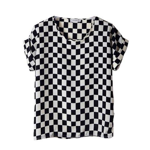 VOBAGA Damen Vogel Herz Drucken Kurzen Ärmel Chiffon Top T-Shirt Blusen black white squares