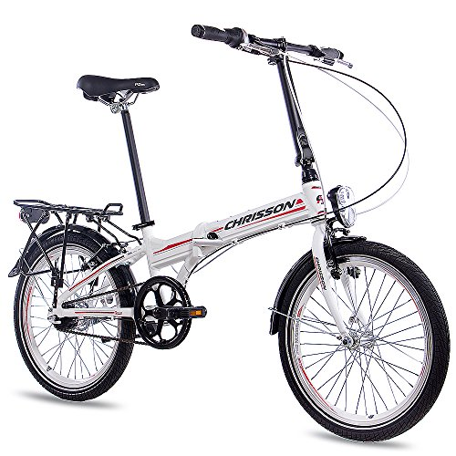 "CHRISSON 20\"" Zoll KLAPPRAD FALTRAD ALU Fahrrad FOLDRIDER 3.0 mit 7 Gang Shimano Nexus Weiss"