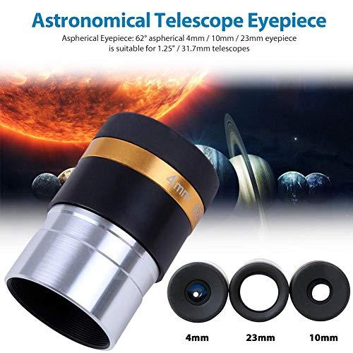 lennonsi Okular Set Asphärisches Augenteleskop 62 Grad Weitwinkelobjektiv 4/10/23 mm Zubehör für astronomisches 1,25-Zoll- / 31,7-mm-Teleskop