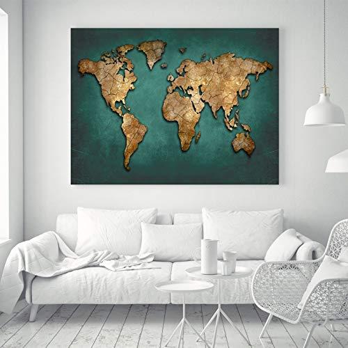 FidgetGear Abstrakte Weltkarte Pop Art Silk Leinwand Poster Stoff Malerei Wand Dekor 16A S: 24 x 16 Zoll -