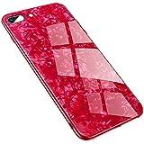 Hishiny Coque iPhone X Téléphone Coque en Verre Trempé Brillant De Protection en Marbre De Cas De Téléphone Portable Dur Cas Couverture De Peau Protecteur pour iPhone X (Rouge)