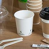 BIOZOYG Bio Kaffeebecher Pappe I Kompostierbares und biologisch abbaubares Geschirr I Trinkgefäß Kartonbecher I Einweg Kaffeebecher weiß mit Icondruck 50 Stück 200ml 8 oz - 4