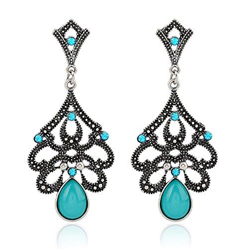 rnägel Retro Diamanten Hohlen Wassertröpfchen Katze Ohrringe Auge,Blue-OneSize ()