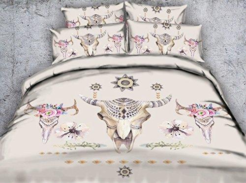 LifeisPerfect * Schöne Tribal Style Home Dekoration 4-tlg Bettwäsche Queen König Bettbezug OX Kopf Rehe Bettwäsche Euro verdoppeln. (Euro Bettbezug)
