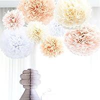 Anokay Set 8 Pompons Couleur de Blanc, Rose, Abricot, Champagne, Fleur en Papier de Soie pour Décoration de fête, anniversaire, mariage, Noël (8 set )