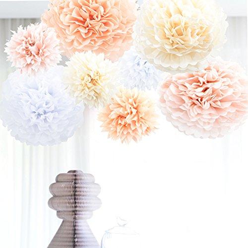 Anokay Hochzeit Deko Set - Seidenpapier PomPoms Luftballons rund weiß altrosa champagne aprikose - Pom Pom für Hochzeitsdeko Tischdeko Geburtstagsdeko Mädchen Party Dekoration (8er Set(Groß)) -
