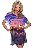5765 Fashion4Young Damen Leger geschnittenes Minikleid aus zartem Chiffon Kleid Chiffonkleid 3 Gr.