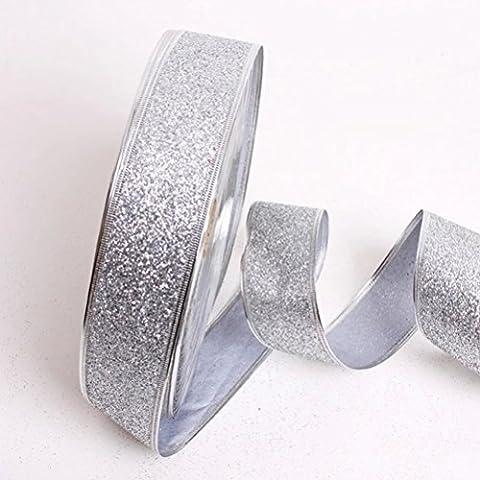 LUOEM Glitter Decorativi Nastri Craft per Casa Albero di Natale Decorazione di Nozze argento