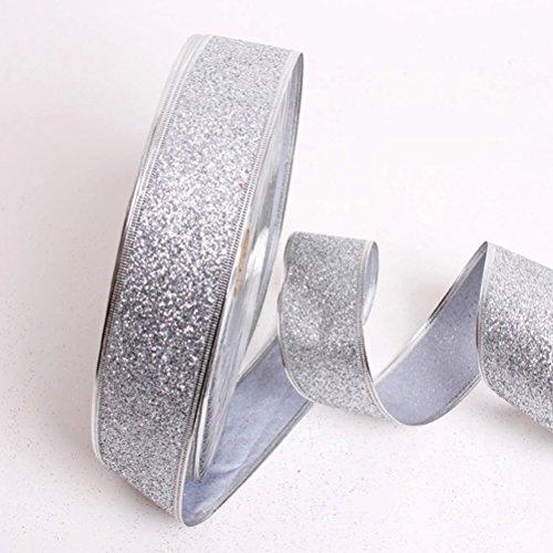 Silber Tüll Glitter (NUOLUX Silber Glitter Band für Hochzeit Ornamente Weihnachtsdekoration)