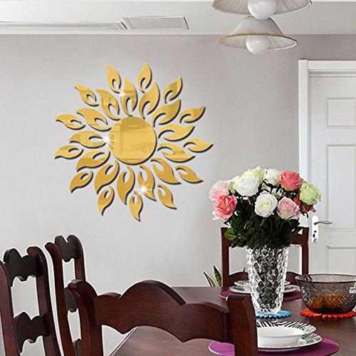Jintie COOWOO Custom 3D aus massivem Acryl spiegel Wand Dekoration einfache Wohnzimmer Büro Sonnenbrille, goldene Spiegel, in