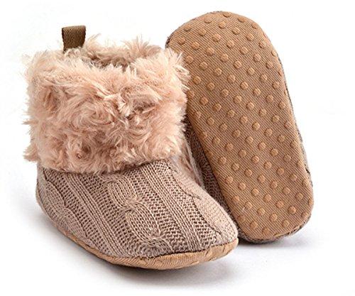 Butterme Bébés garçons filles douce Sole Anti Slip hiver chaud bottes Säuglingsvor walker chaussures de neige garnis de chaussettes de fourrure Kaki