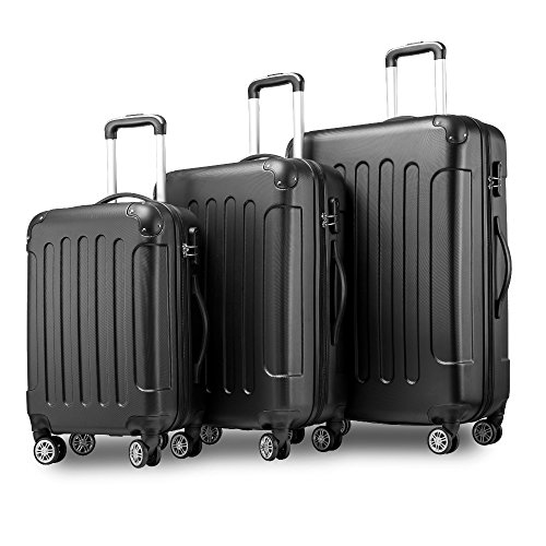 Hartschalen Kofferset Zwillingsrollen Reisekoffer Set 3 teilig Trolleys mit Zahlenschloss, Flieks Gepäck mit 4 Doppel-Rollen, Set-XL-L-M, (Schwarz) (Gepäck-set Leichtes)